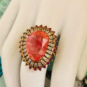 Jewelry - Ottoman Ruby Topaz. .925 Silver & Bronze Ring